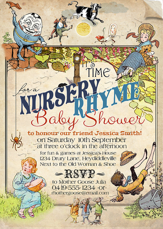 Nursery Rhyme Baby Shower Invitation Instant Download Editable