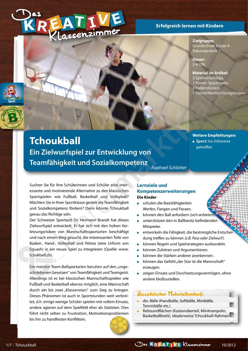 Tchoukball - Ein Zielwurfspiel zur Entwicklung von Teamfähigkeit und ...