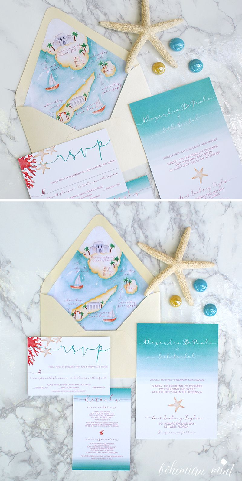 Beach Wedding Invitation With Custom Wedding Map Envelope Liner