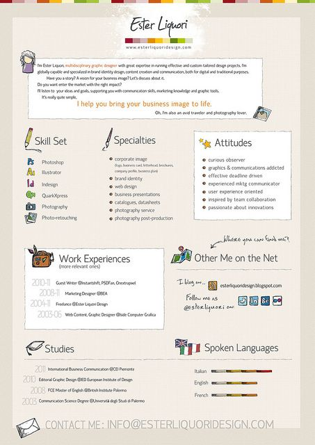 Ester Liquori Design Visual Resume   bespokeresumedesign