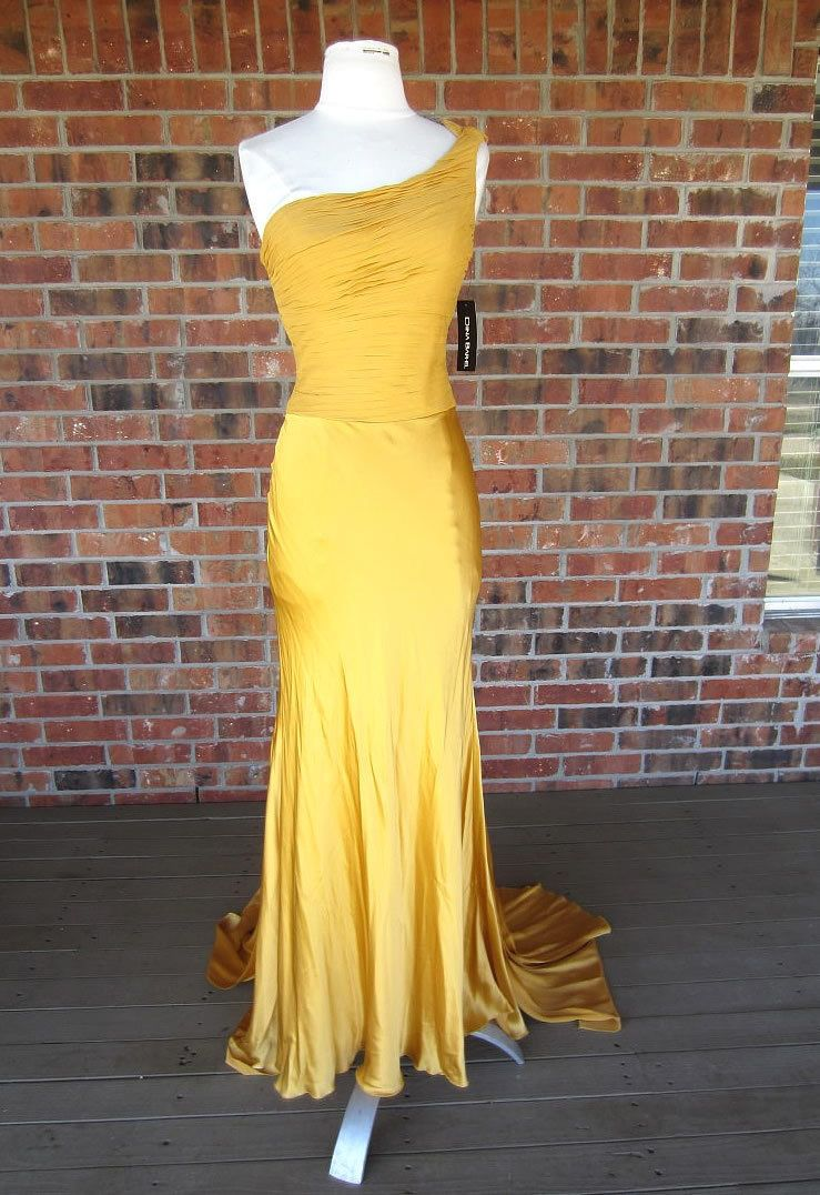 Beautiful dina barel one shoulder yellow gown dress prom made in
