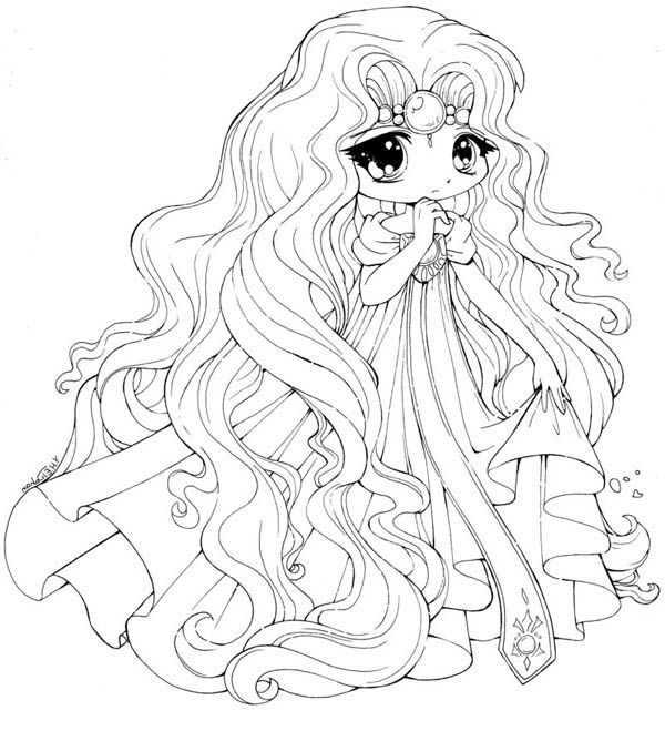Princess Emeraude Chibi Draw Coloring Page Pages Cute Printable Adult
