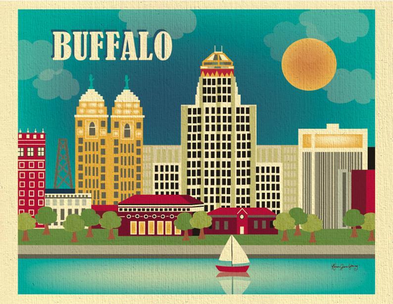 Buffalo Ny Print Buffalo Skyline Buffalo Ny Artwork Etsy