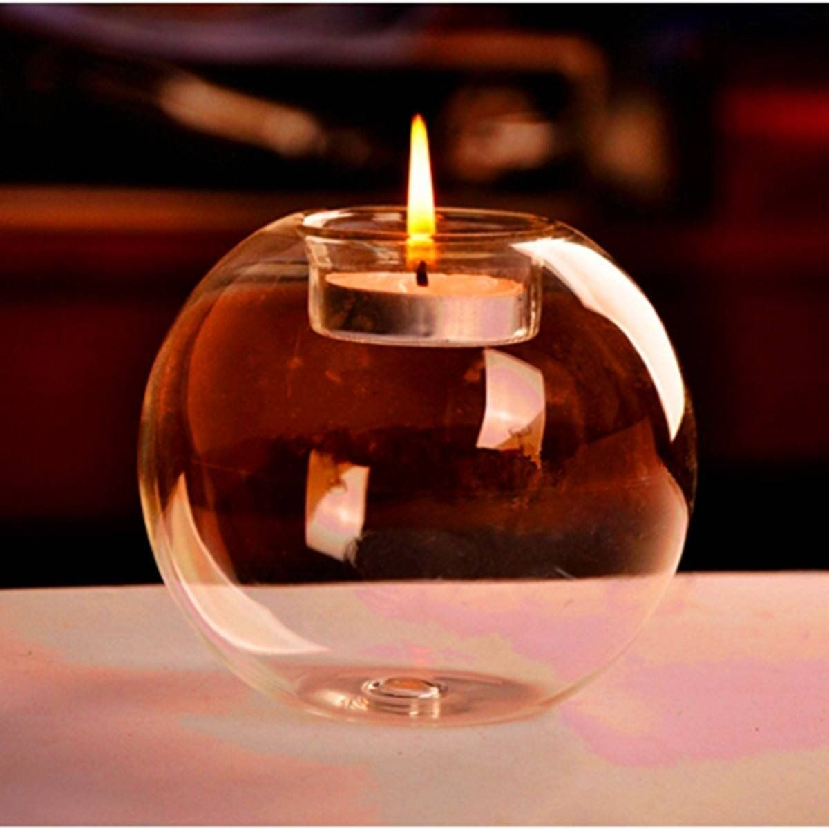 Romantic Glass Candle Holder Crystal Round Shape Wedding Dinner Home Candle Decor