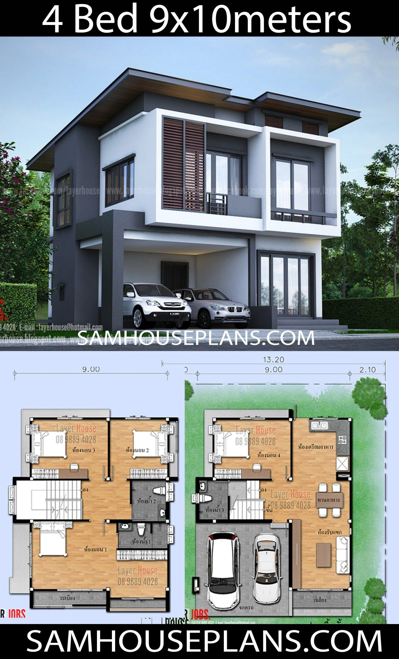 House Plans Idea 9x10m With 4 Bedrooms Sam House Plans Beautiful House Plans Beach House Plans Modern Style House Plans