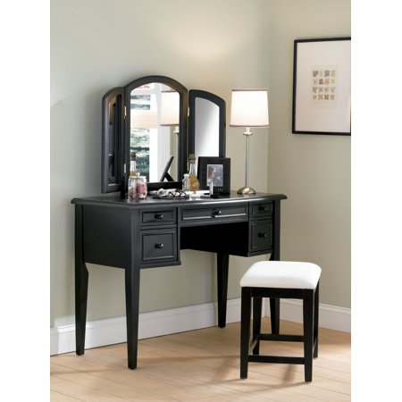 Powell Vanity With Tri Fold Mirror And Bench Multiple Colors Black Vanity Table Set Vanity Table Trifold Mirror