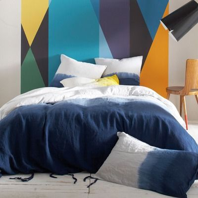 housse de couette pur lin tie dye bensimon bleu vue 1. Black Bedroom Furniture Sets. Home Design Ideas