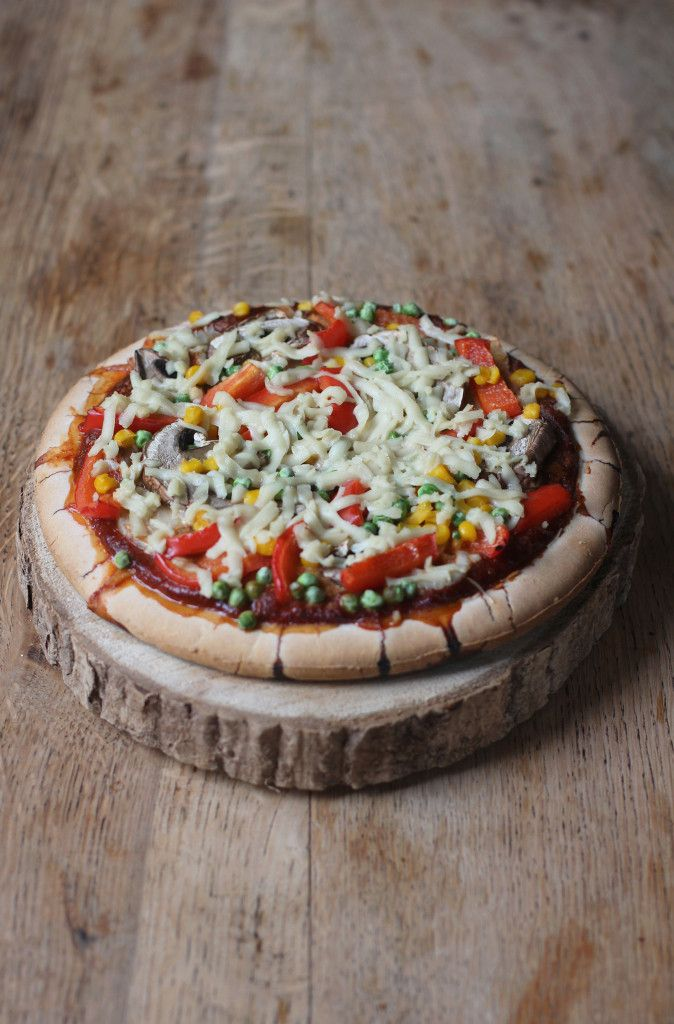 Vegan + Gluten Free Vegetable Pizza!!! Topped with mixed vegetables