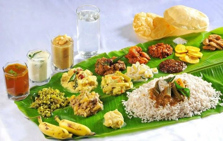 Traditional South Indian Meal Served On Banana Leaf During Special
