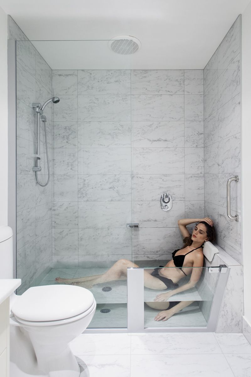 most comfortable freestanding tub. The shower easily converts into a comfortable and spacious bath