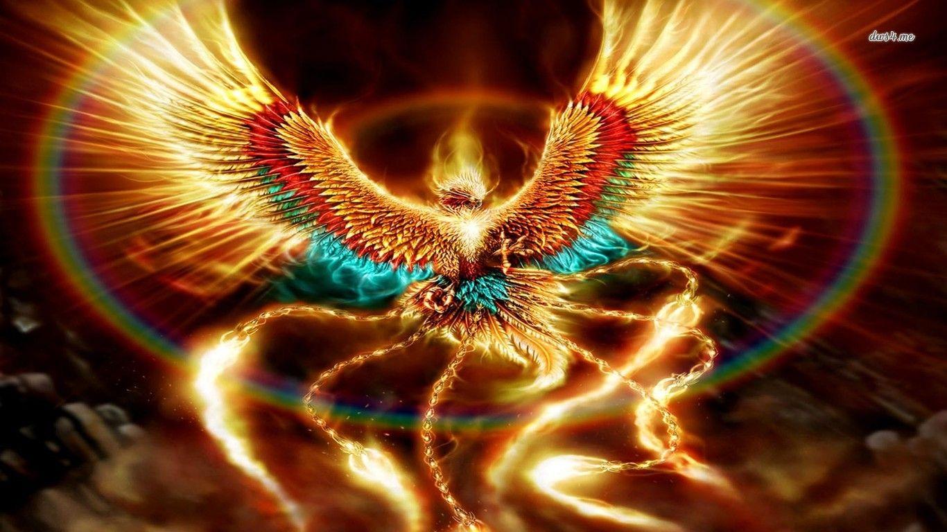 Painting Art Phoenix Fire Fantasy Digital Drawing: Digital Art Bird Fire Phoenix