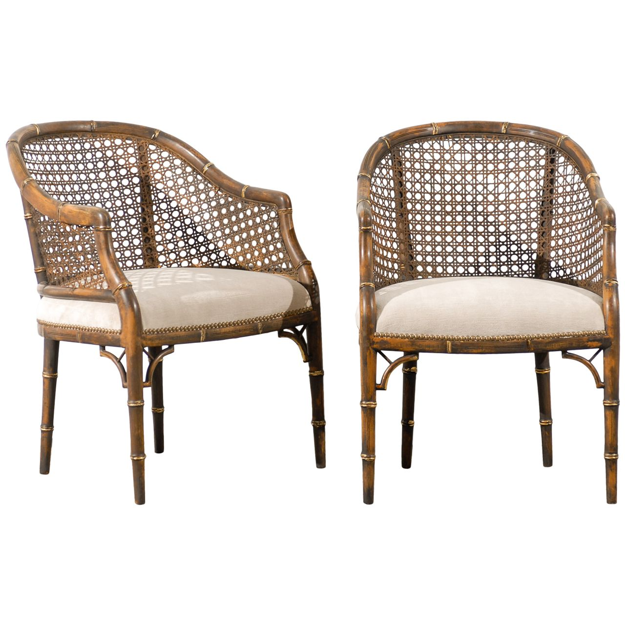 Vintage Faux Bamboo Cane Barrel Back Chairs Bamboo Chair Bamboo Dining Chairs Bamboo Chair Design
