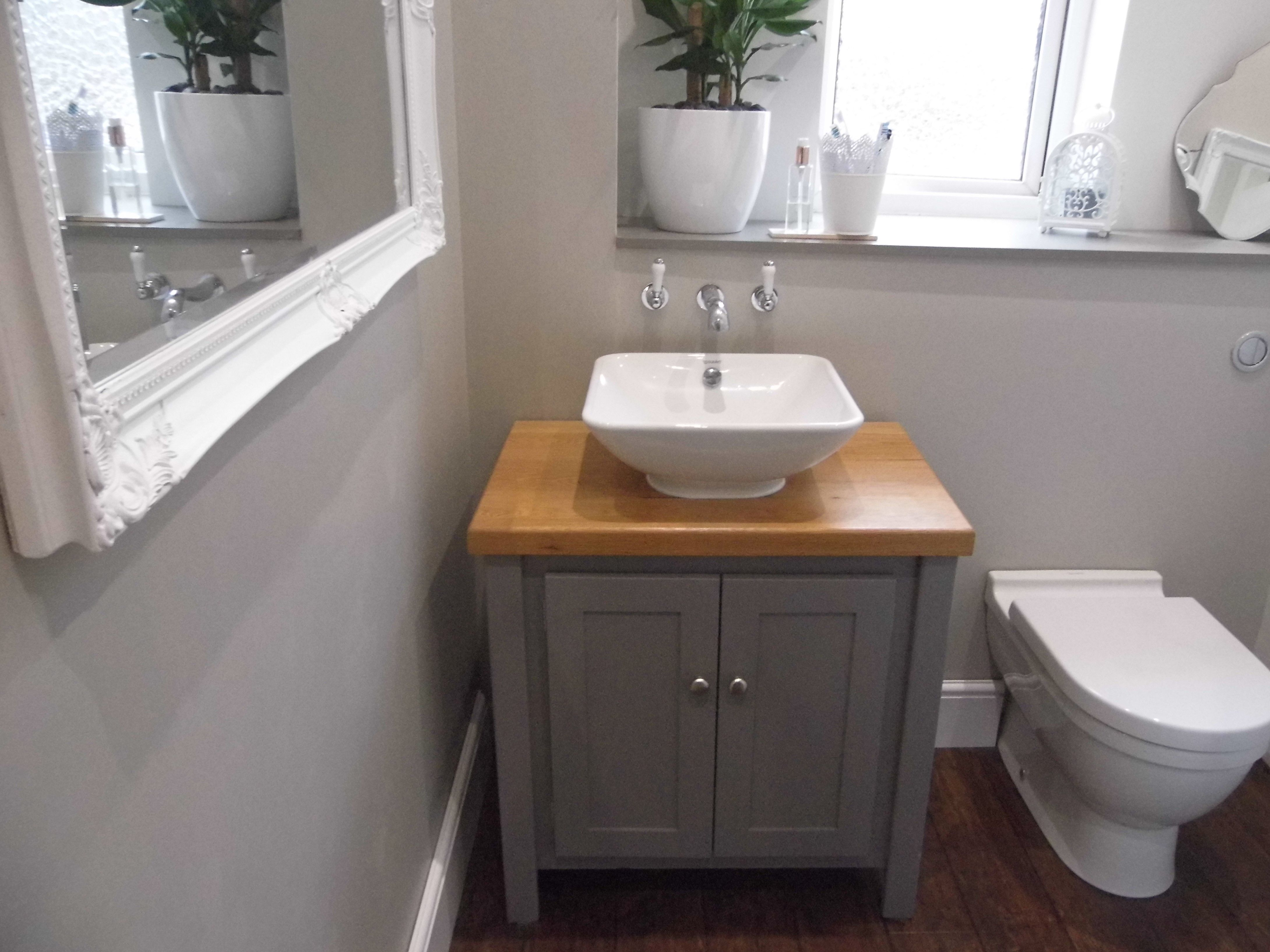 Aspenn furniture vanity unit painted with Farrow and Ball Molesbreath Walls Farrow and Ball Purbeck