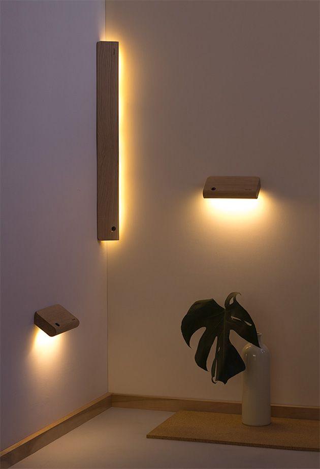 壁に取り付ける木製のモーションセンサー間接照明 Ellum Motion