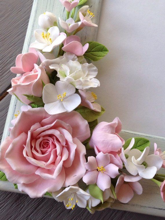 Wedding frame for wedding photo. Blush pink roses, white and pink hydrangeas,cherry blossom , white ranunculus, white azaleas