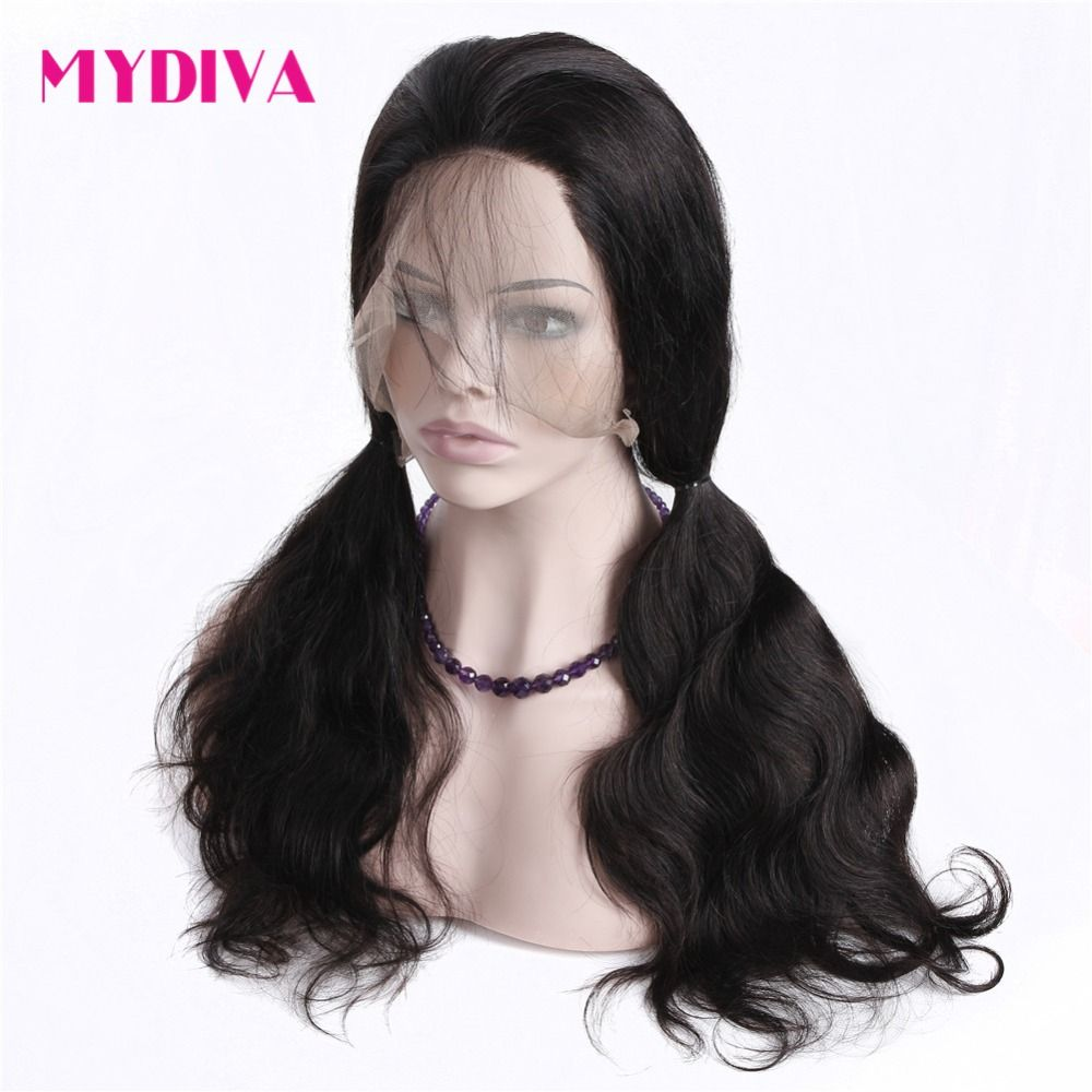 Aliexpress.com   Buy Mydiva Pre Plucked 360 Lace Frontal Wigs For Women  Brazilian Body bf1b68d59