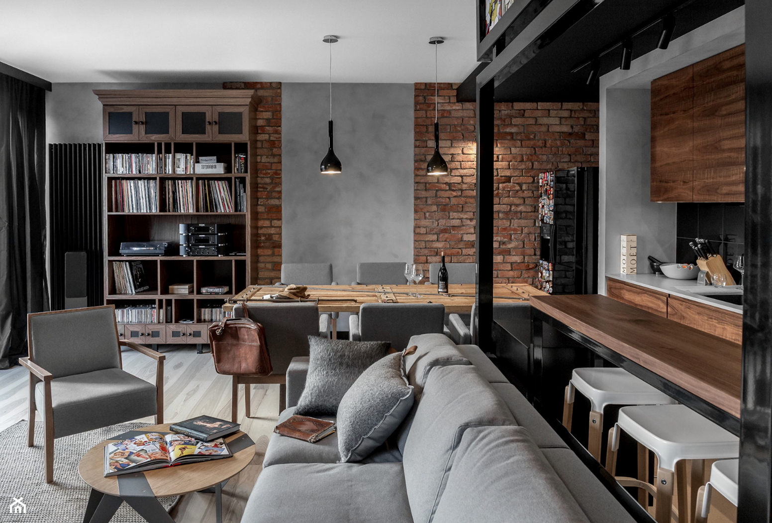 Salon Z Kuchnia Aranzacje Inspiracje I Pomysly Na Modny Wystroj 2020 Loft Interiors Loft Design Brick Interior