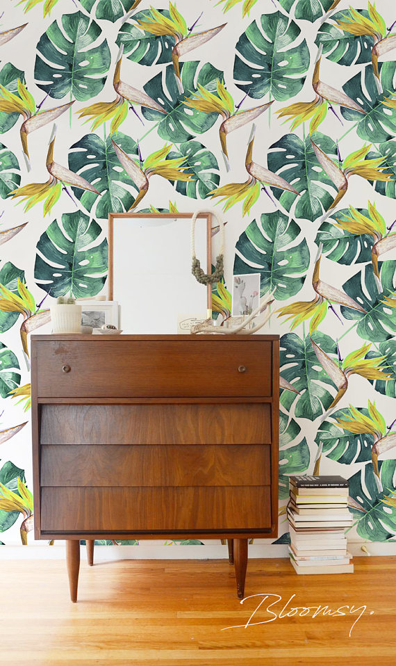 Removable Wallpaper Tropical Green Leaves Exotic Wall Covering