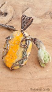 Photo of Yellow Bohemian Bumble Bee Jasper Pendant, Dainty Oval Copper Wire Wrapped Bumbl…