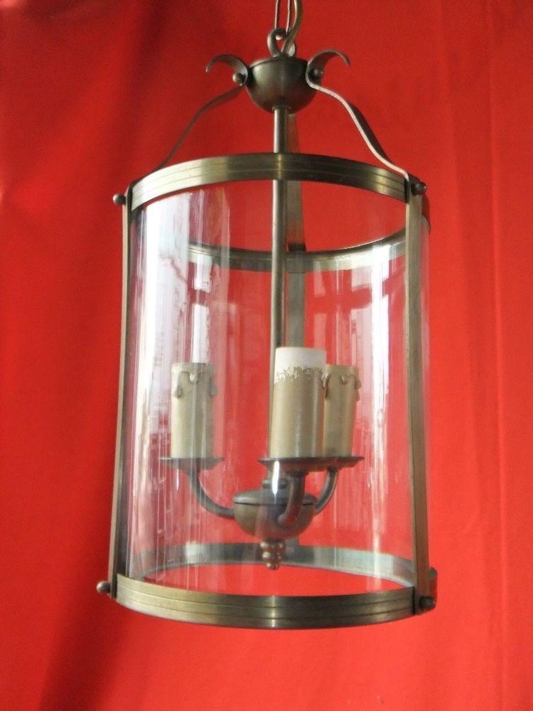 Suspen… Ancien Lanterne Laiton Cage Rond Verre Lustre q5RL4j3A