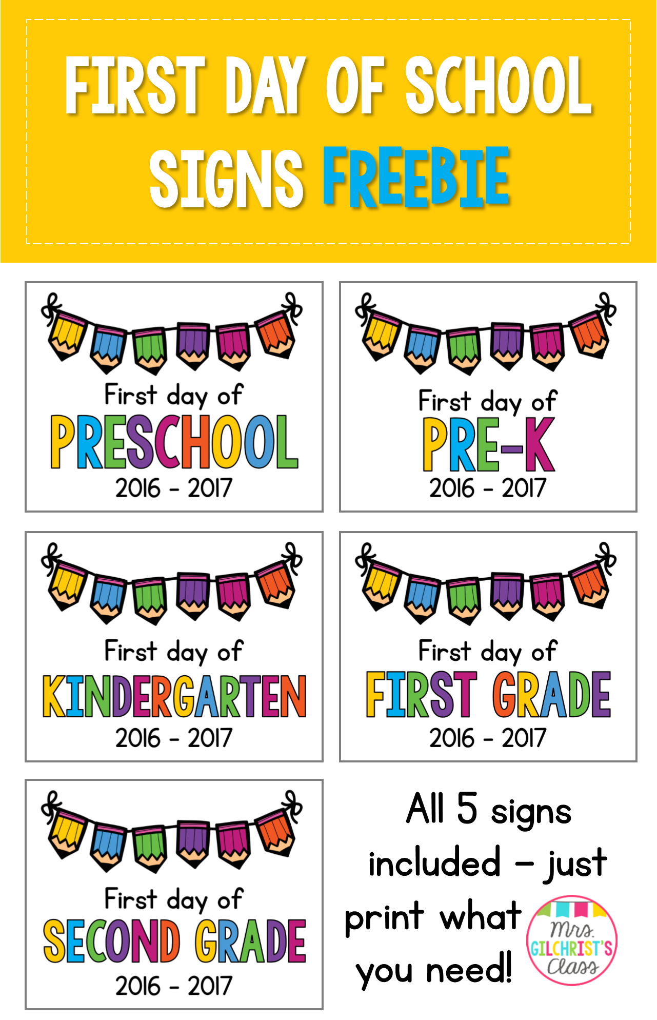 First Day Of Fall 2020.2019 2020 First Day Of School Signs Freebie Preschool