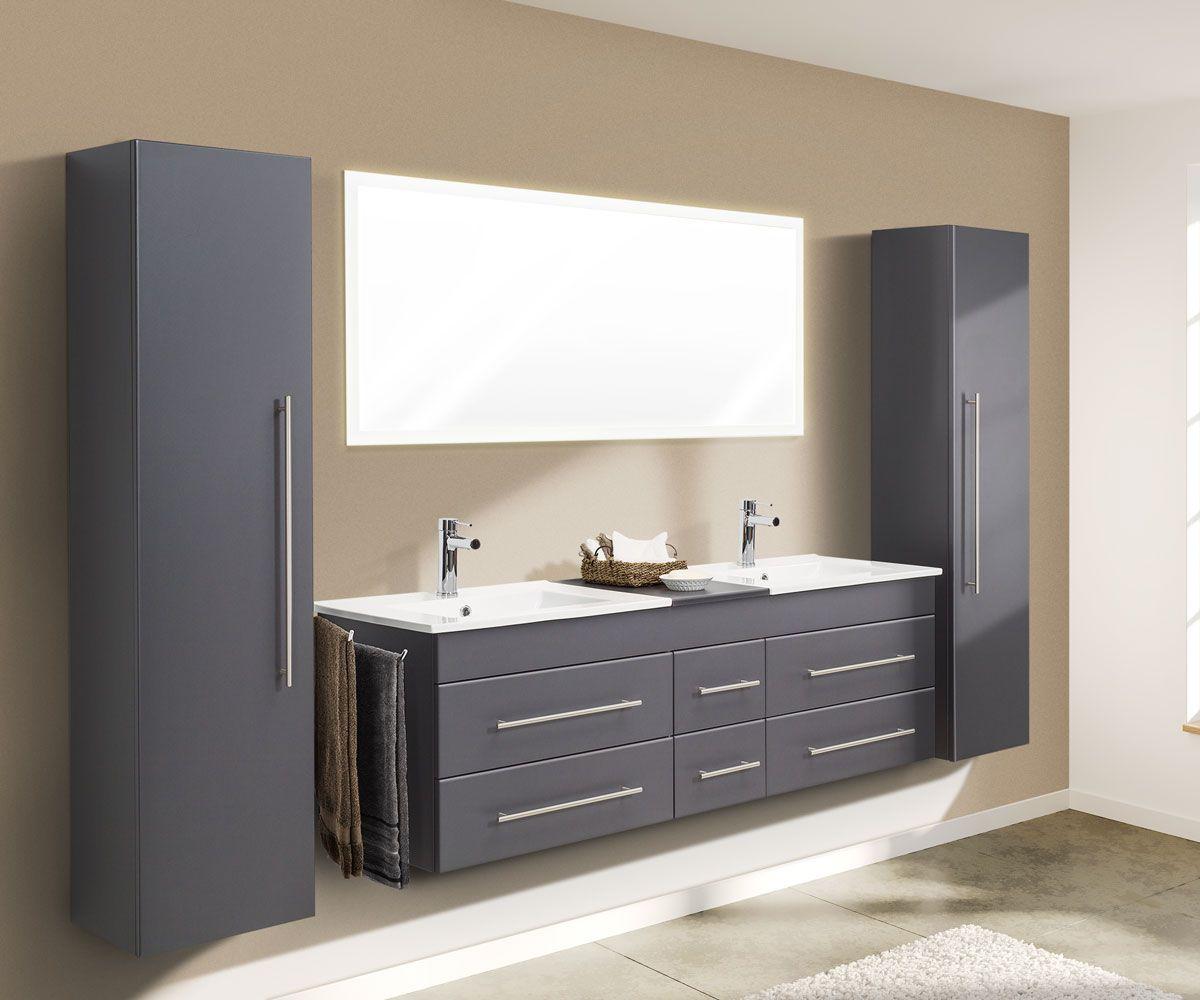 Badmobelset Komplett Roma Xl 4 Teilig Inkl Led Spiegel Anthrazit Seidenglanz Badezimmer Set Badezimmer Hochschrank Badezimmer Mobel