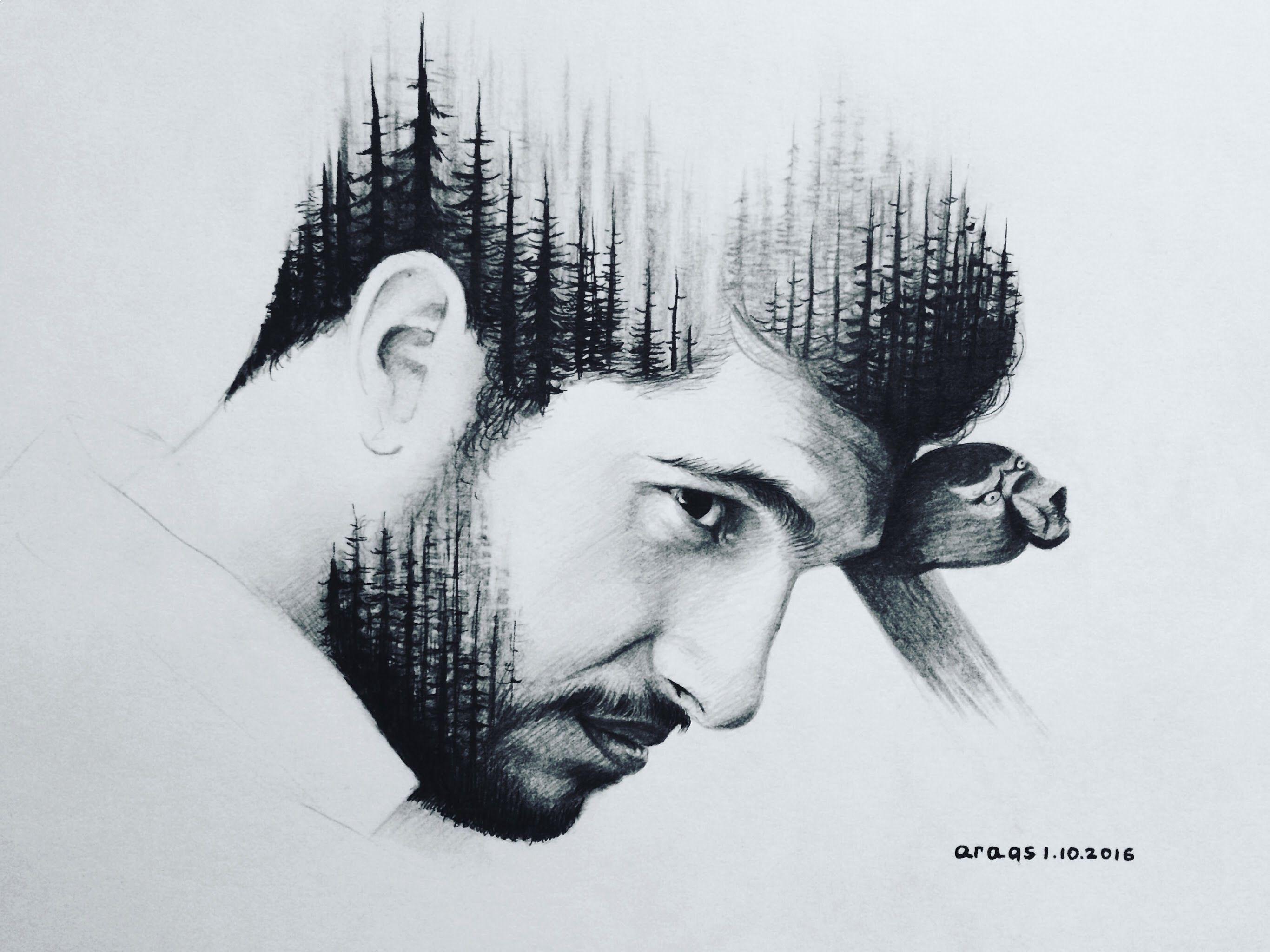 Portrait monochrome man portrait drawing black and white pencil ink double exposure effect drawn