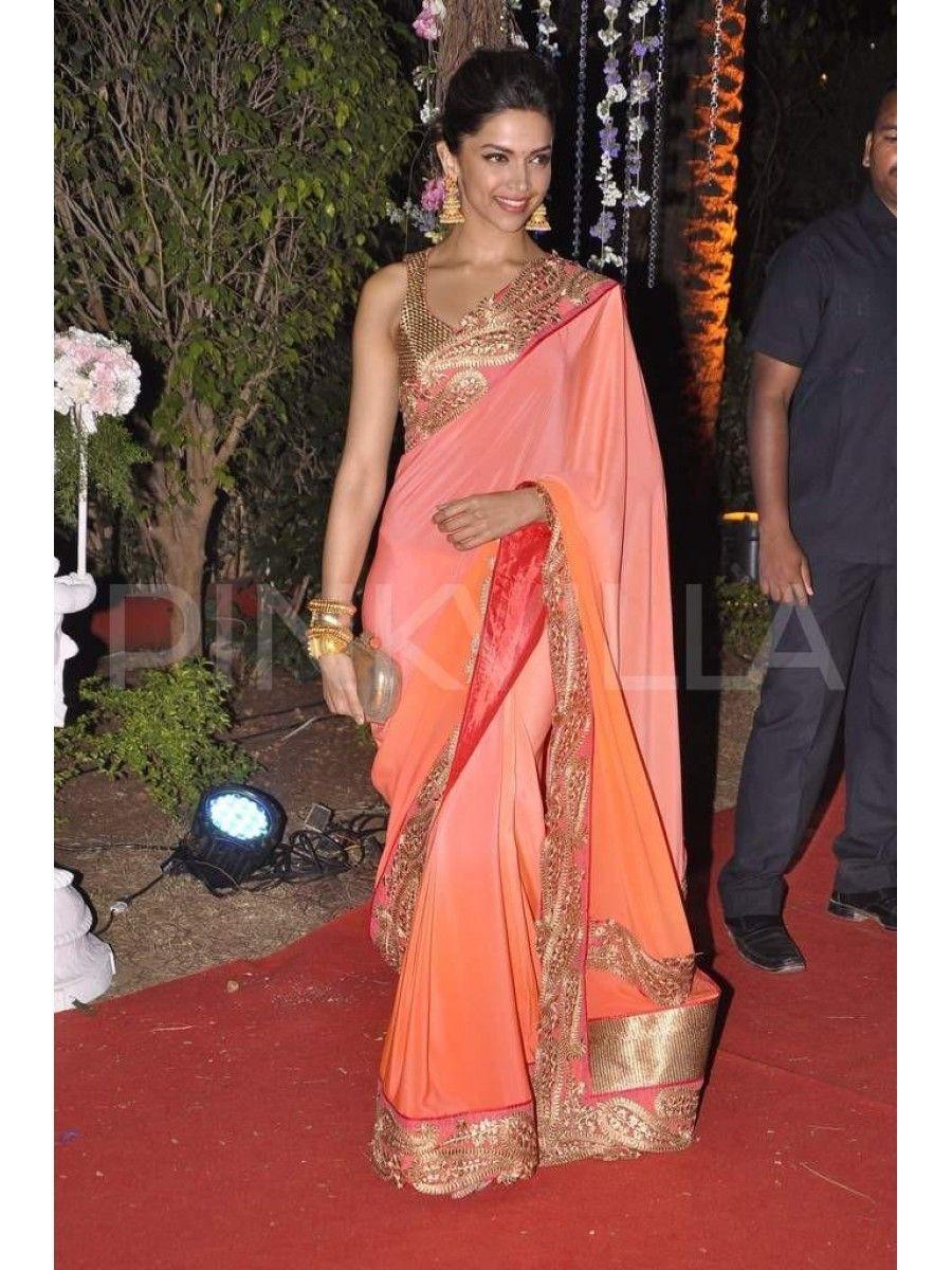 Deepika Padukone Orange Saree at Ahana Deols Reception ...