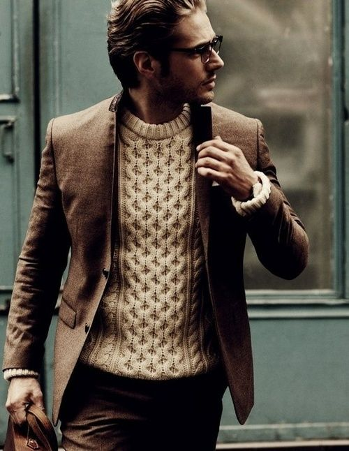Men's Dark Brown Blazer, Beige Cable Sweater, Dark Brown Wool ...