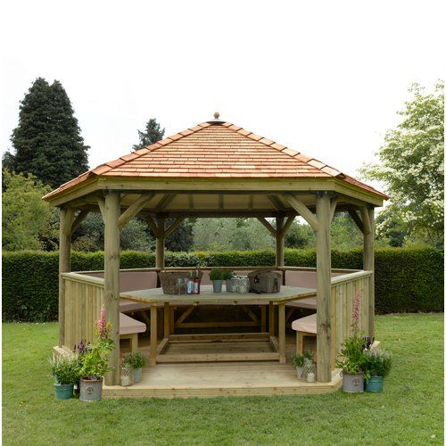 Best Sol 72 Outdoor Furnished 4 9M X 4 3M Wooden Gazebo With 400 x 300