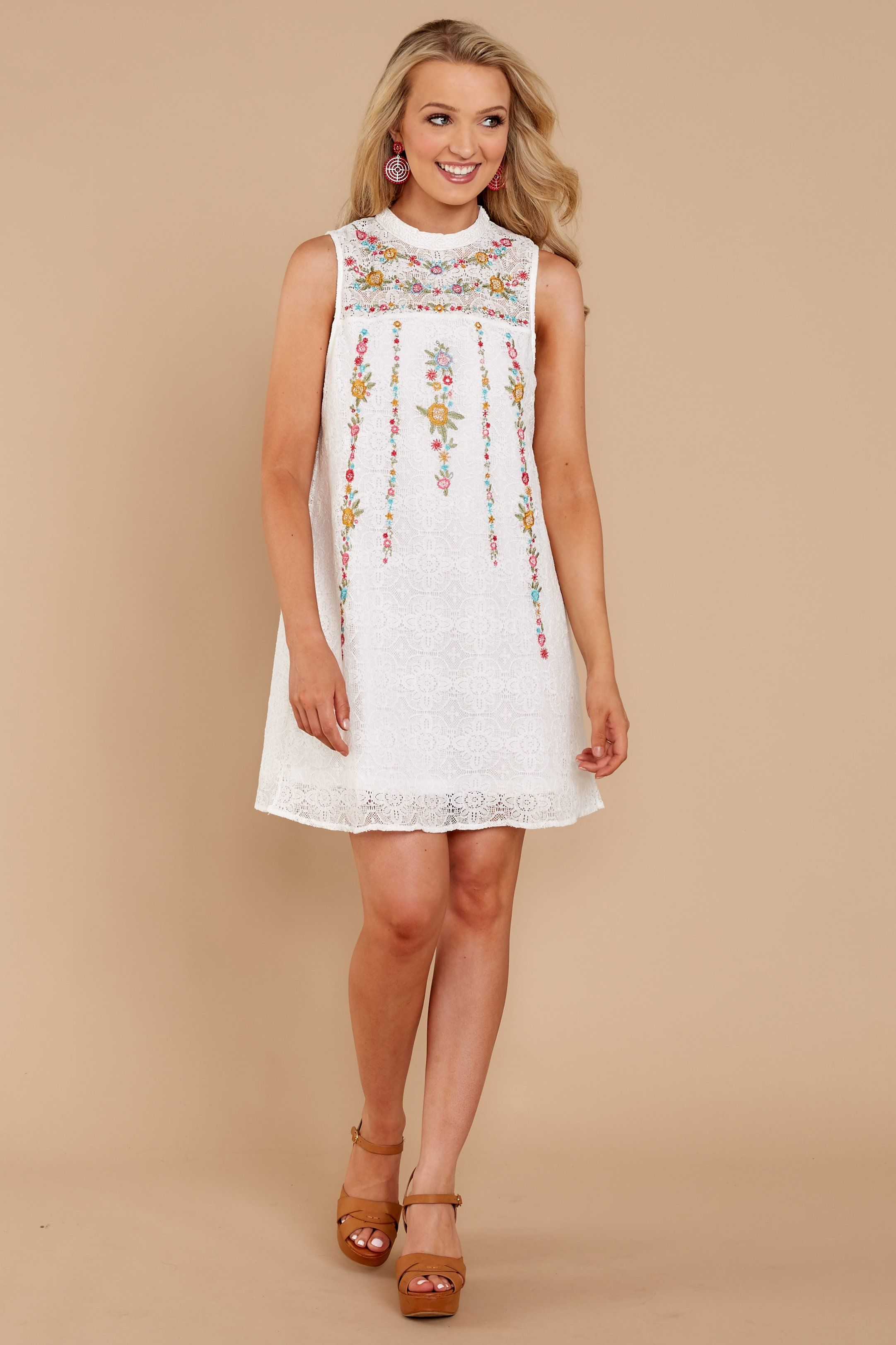 9f352d6acf Chic White Lace Embroidered Dress - Adorable White Lace Dress - Dress -   44.00 – Red Dress Boutique