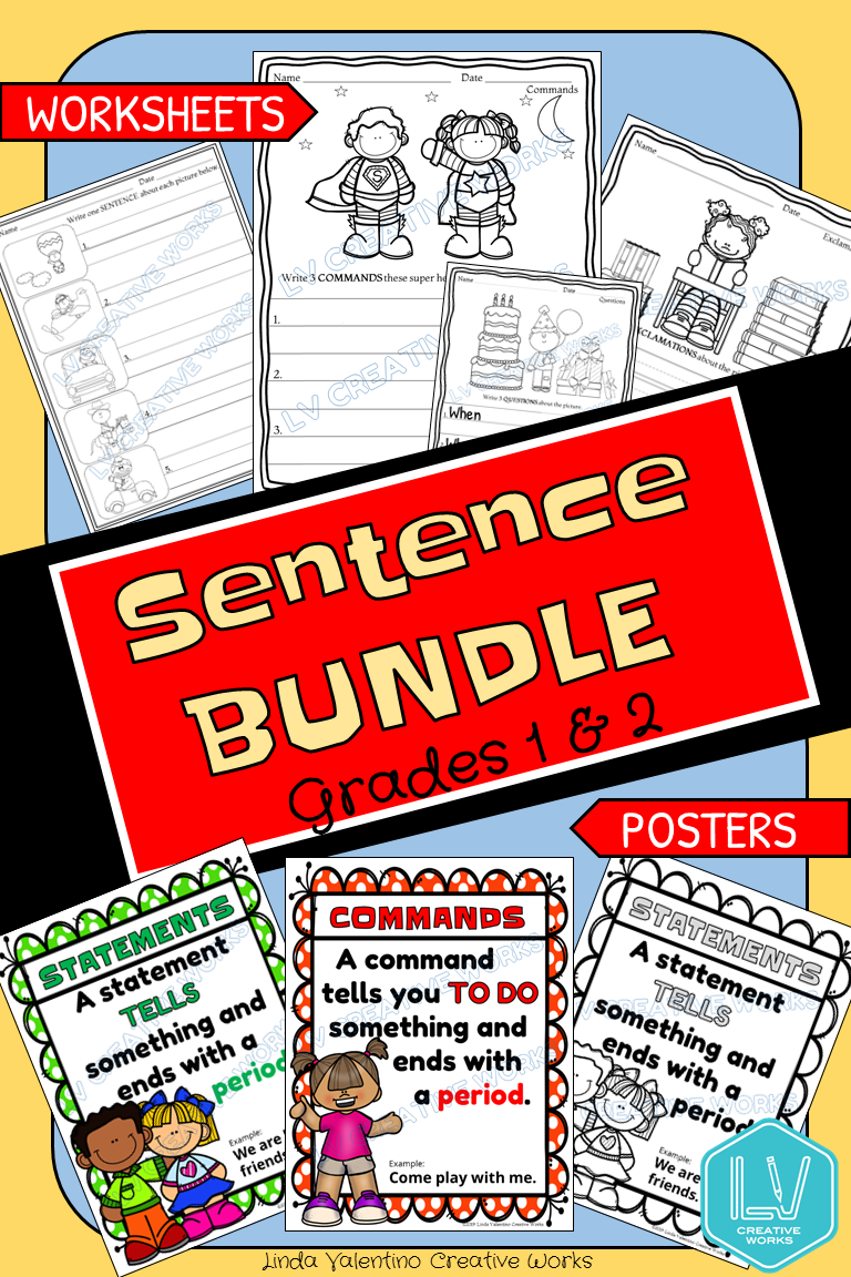 Sentence Writing and Posters Bundle   Writing prompts for kids [ 1152 x 768 Pixel ]