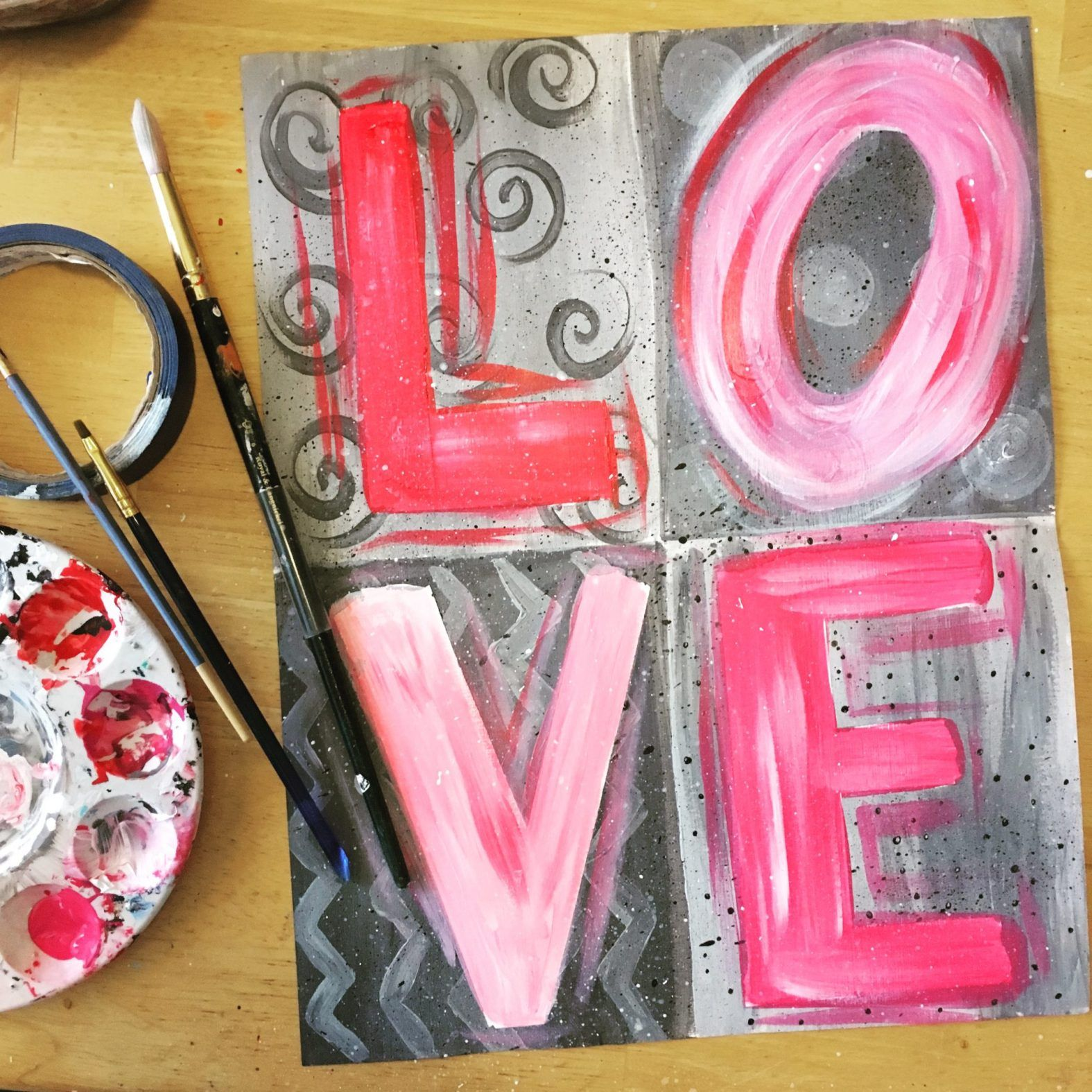 Love Painting Diy Painting Tutorial For Beginners Canvas Painting Diy Love Painting Diy Painting