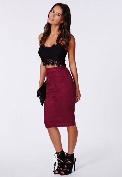 Premium Purple Lace Half Lined Midi Skirt | Berries, Midi skirts ...