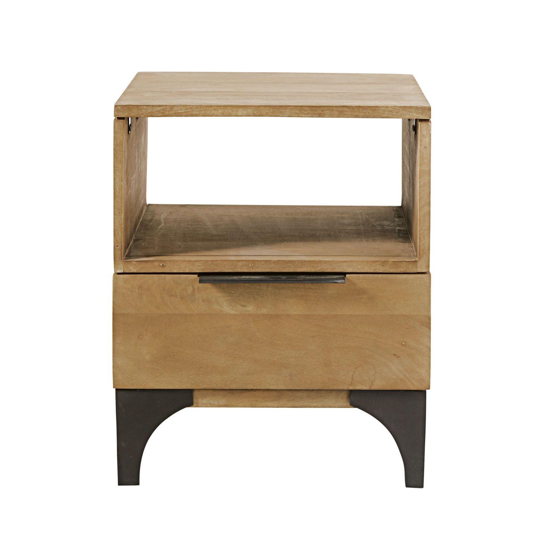 Table De Chevet 1 Tiroir En Manguier Massif Metropolis Sur Maisons Du Monde Piochez Parmi Nos M Solid Mango Wood Black Metal Bedside Table Wood Bedside Table