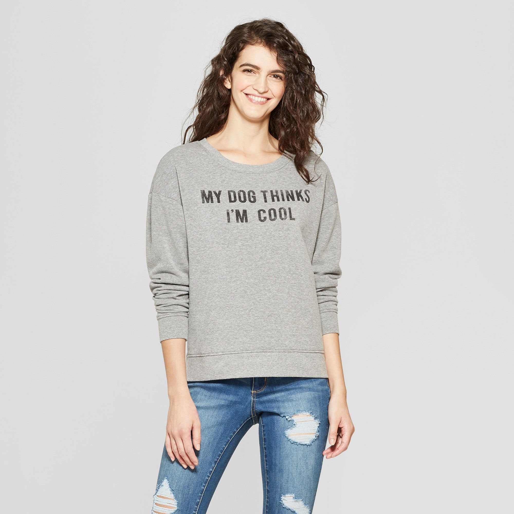Just Here To Pet The Dogs  Funny Dog Humor Cute Gray Women/'s Jr Fit T-Shirt
