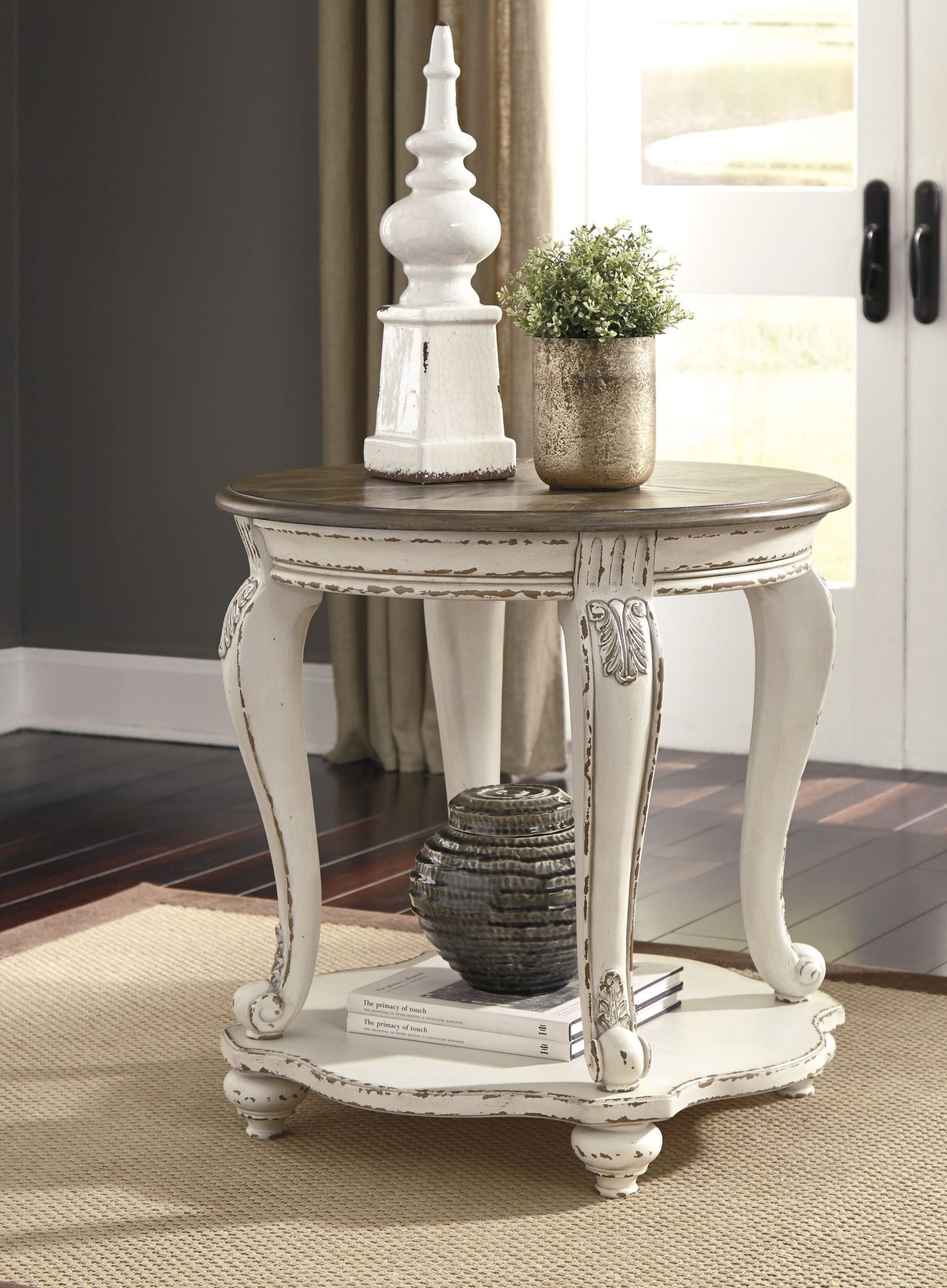 Realyn White and Brown Round End Table Living room end