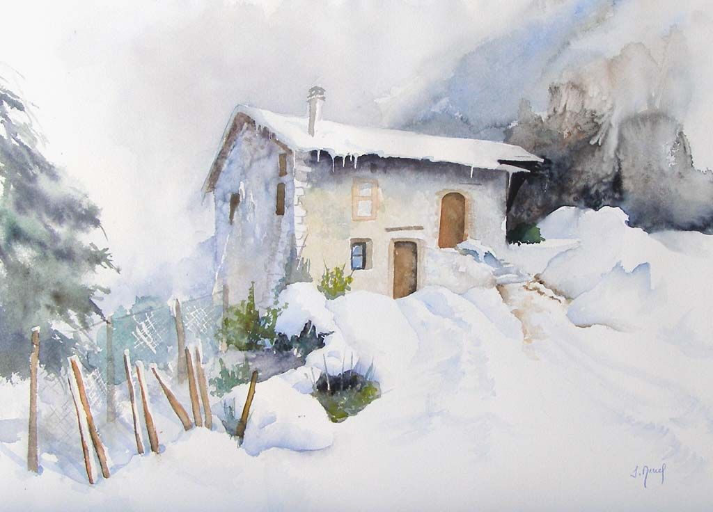 Josette MARREL Aquarelliste | Tableaux aquerelle | St Romans (Isère) |  Paysage de neige en peinture, Paysage de neige, Aquarellistes