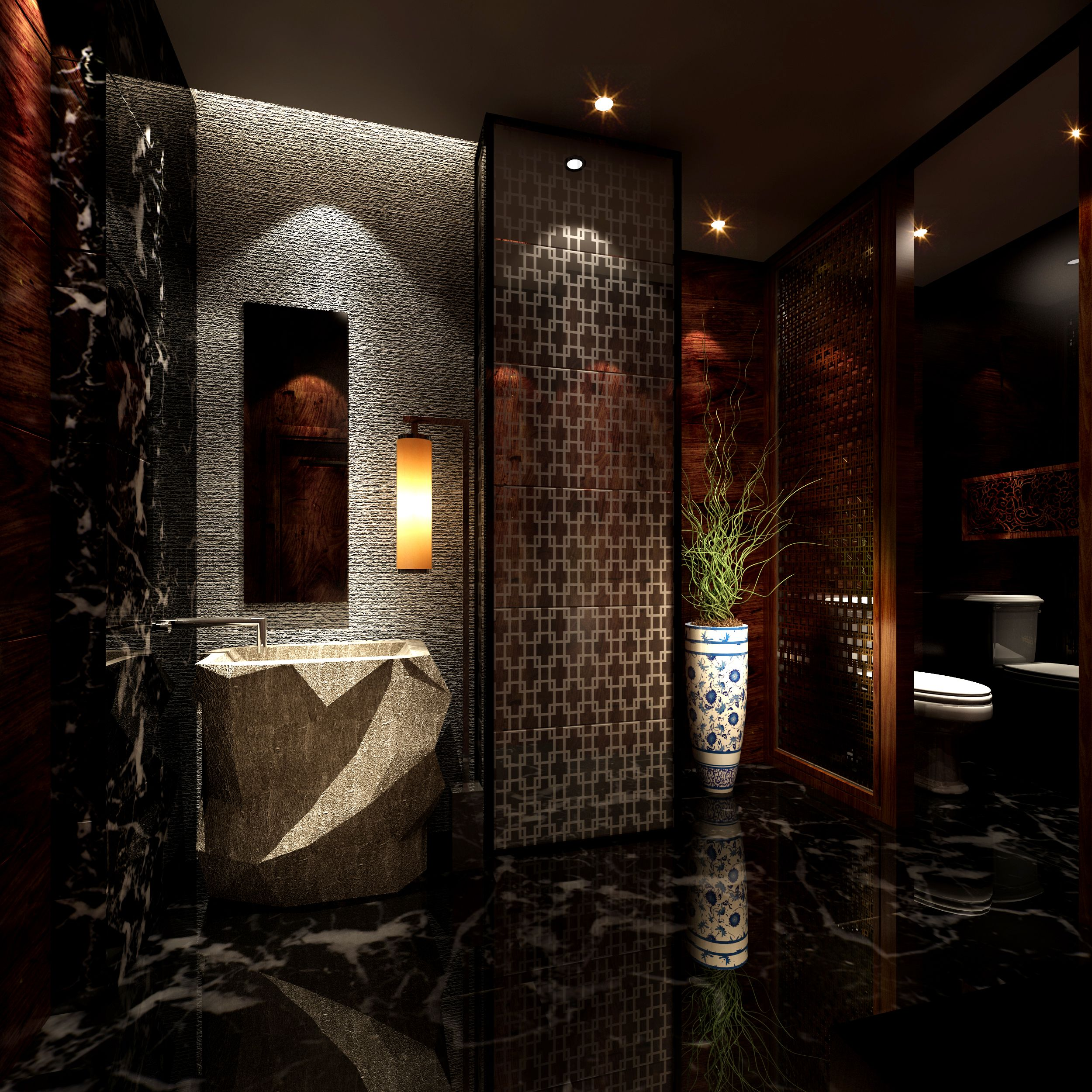 luxury bathroom design with a dark marble floor marble floor