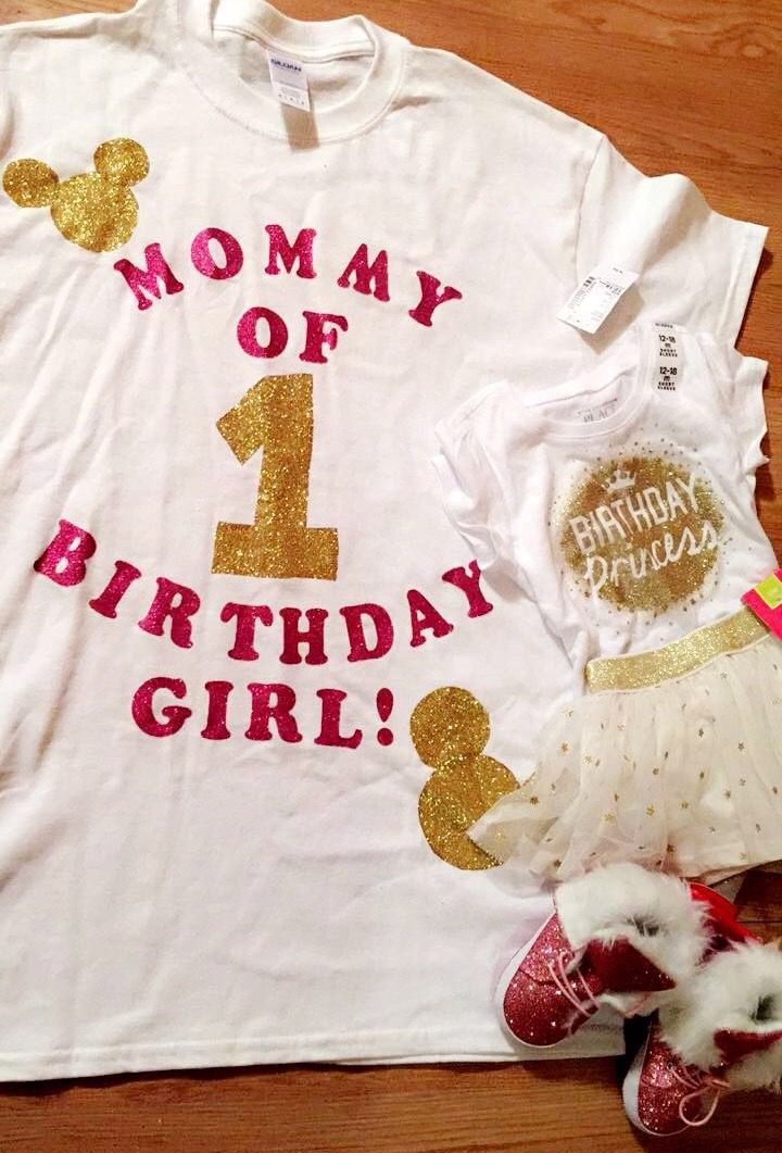 1st Birthday Shirt DIY And Outfit Childrens Place Pink Gold Theme With A Hint Of Minnie