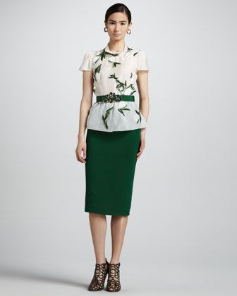 Short Sleeve Leaf Embroidered Blouse High Waist Straight Skirt By Oscar De