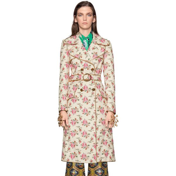 Gucci Roses Print Leather Trench Coat 7 900 Liked On Polyvore Featuring Outerwear