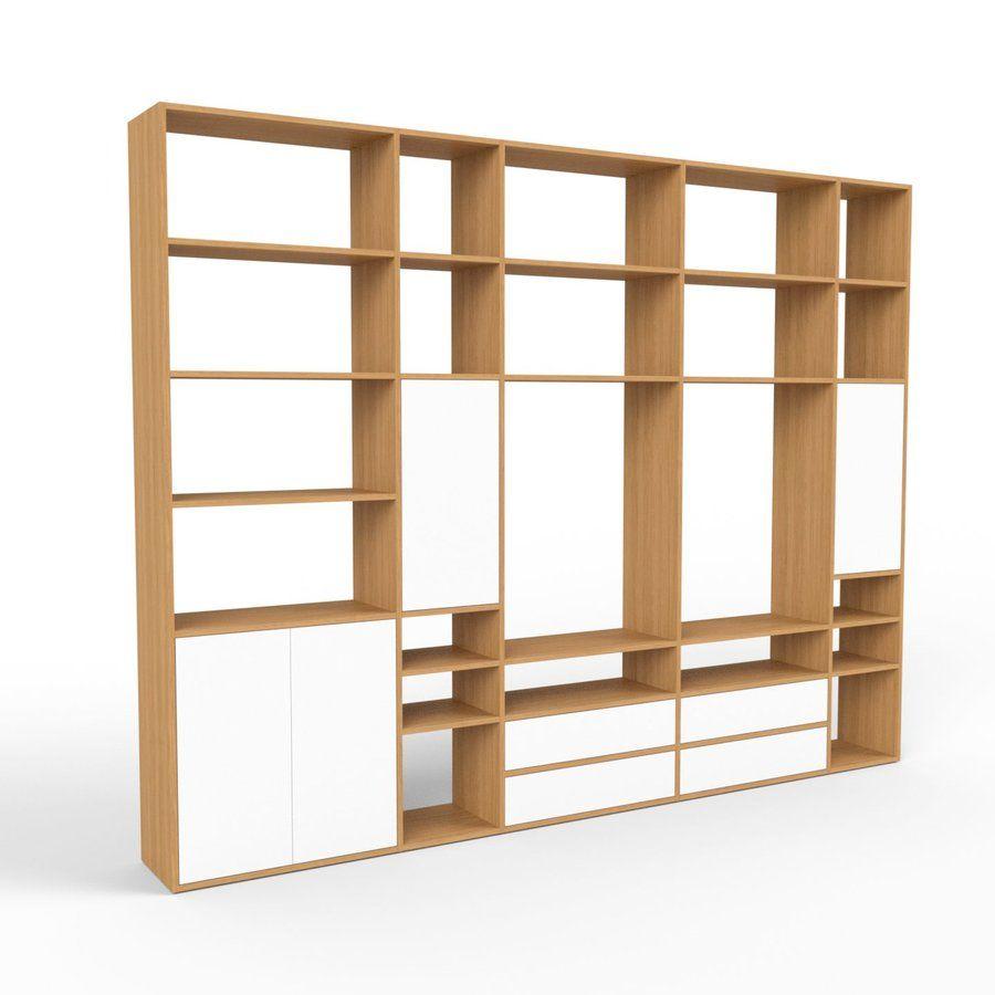 Holzregal Eiche Modernes Regal Aus Holz Schubladen In Weiss