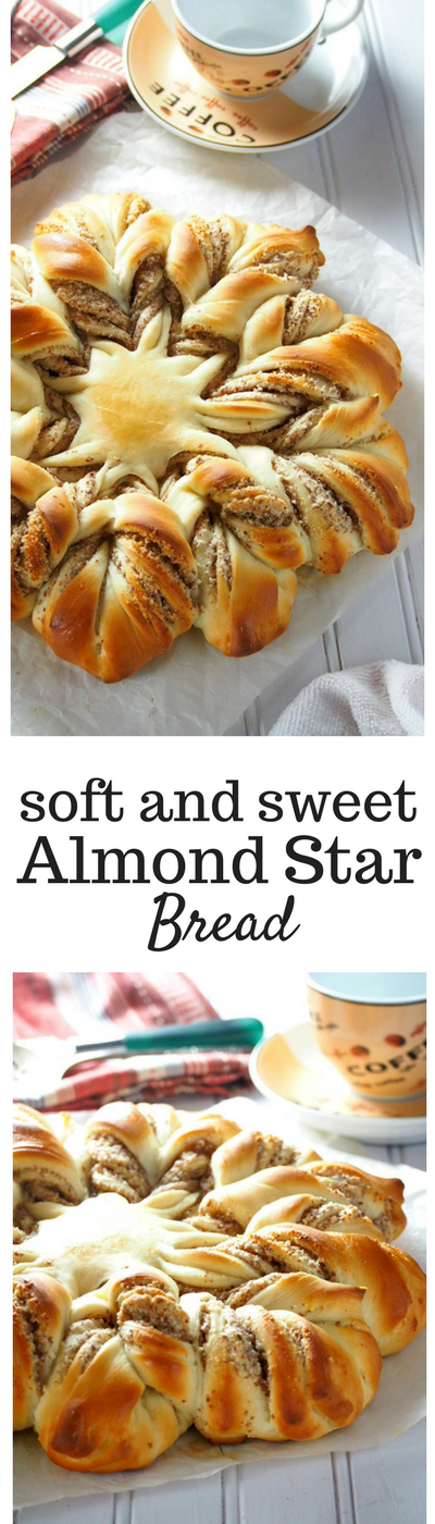 This grand Almond bread shaped in a stunning star form is a delicious and soft bread filled with a tasty almond filling. #almondbread #starbread