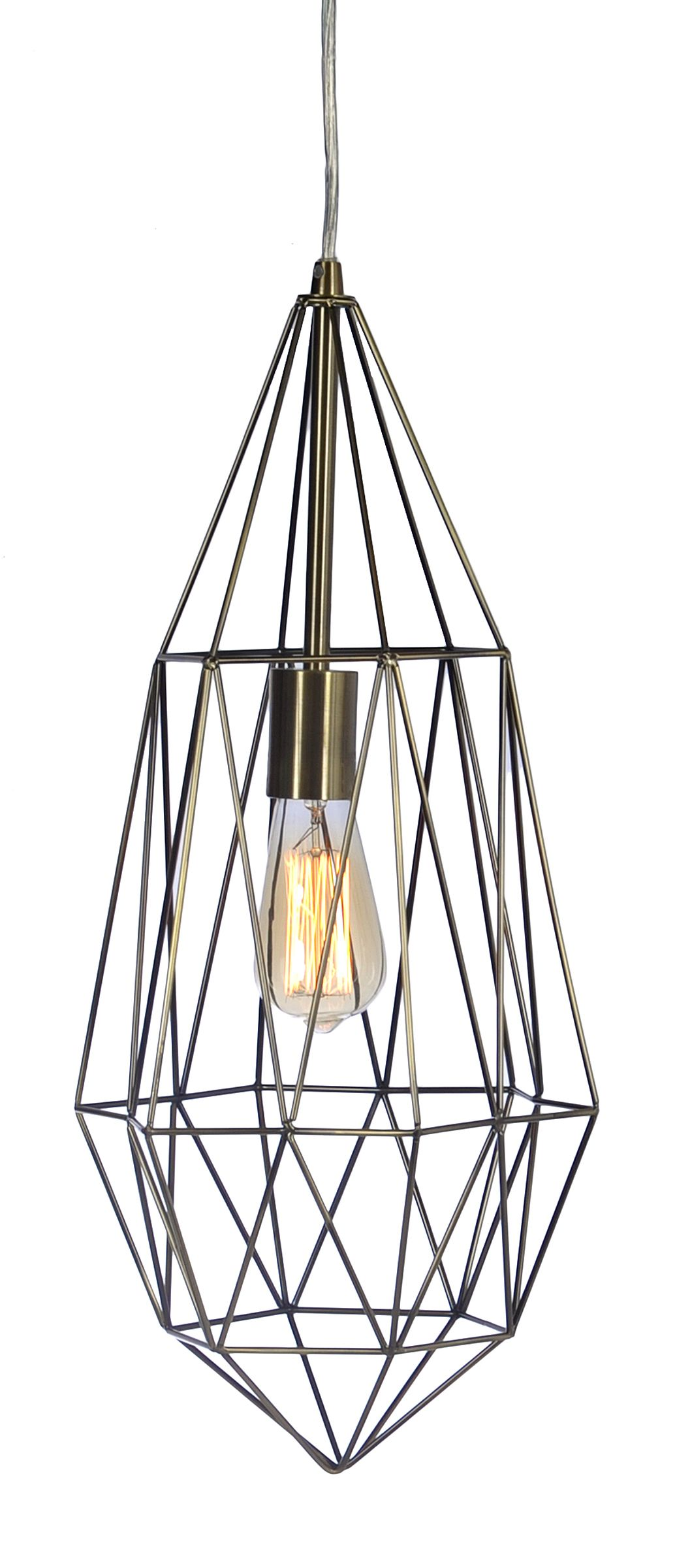 Antique Silver Drop Cage Pendant Light | Industrial style lamps ...