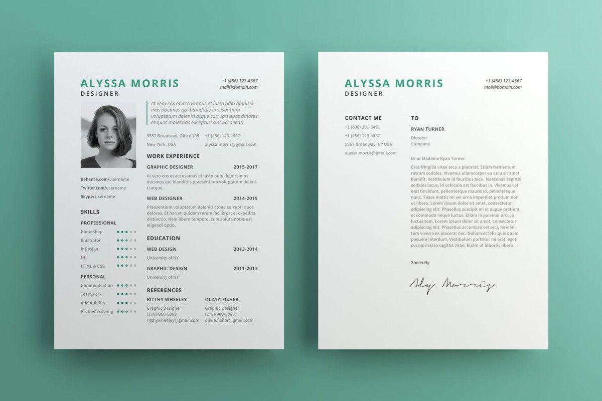 Clean resume cv template free for illustrator cv