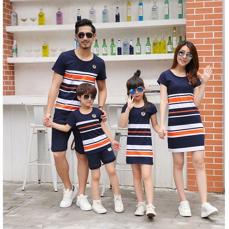 734bec7d1382a Family Matching Outfits 2018 summer Fashion Striped T-shirt Outfits ...