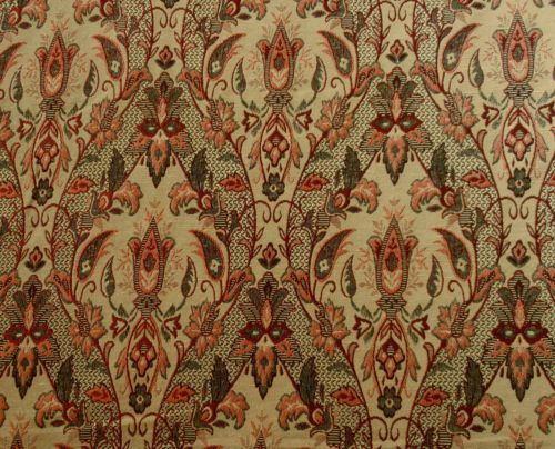 ST D15 RED GOLD FLORAL TRELLIS DESIGN TAPESTRY CURTAIN BLINDS CUSHION FABRIC   eBay