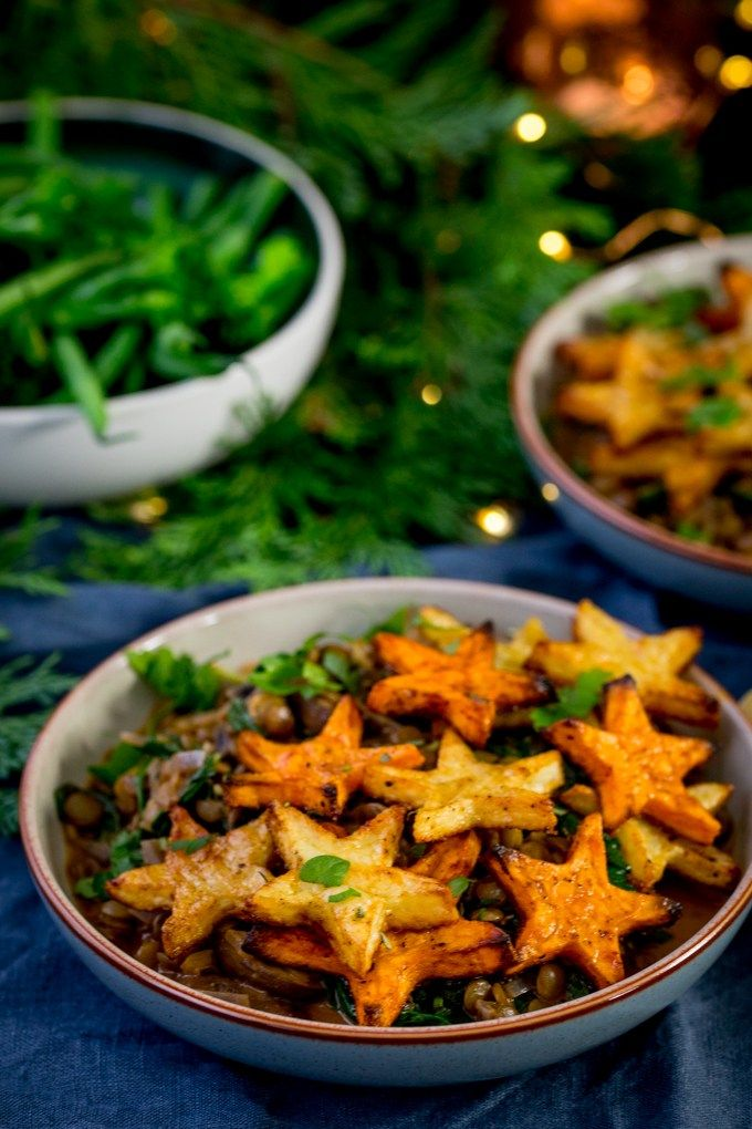 My lentil and mushroom bowl with star potatoes makes a great festive my lentil and mushroom bowl with star potatoes makes a great festive recipe plus a quick gravy recipe for the rest of the christmas veg all vegan forumfinder Gallery