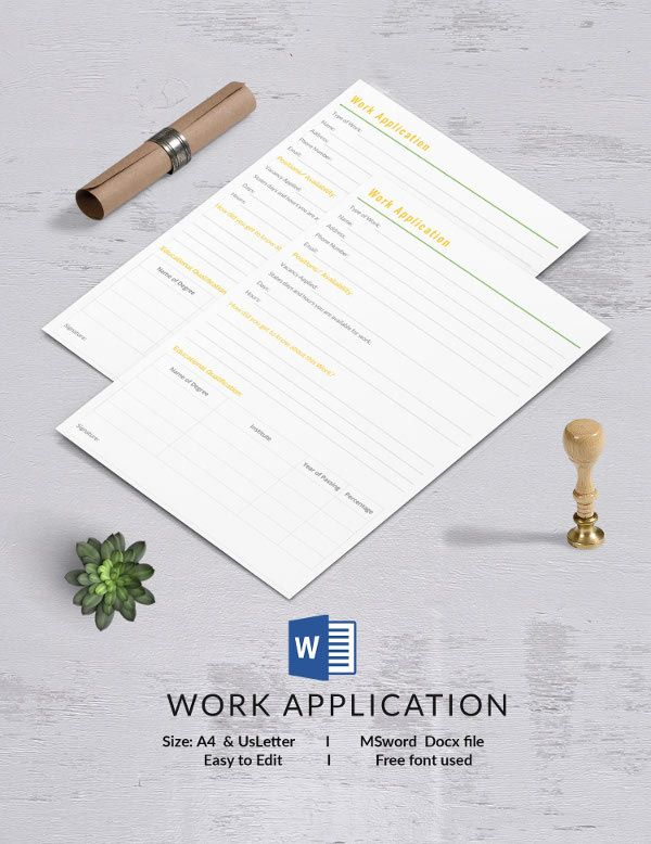Work Application Template 13+ Free Application Templates - application template